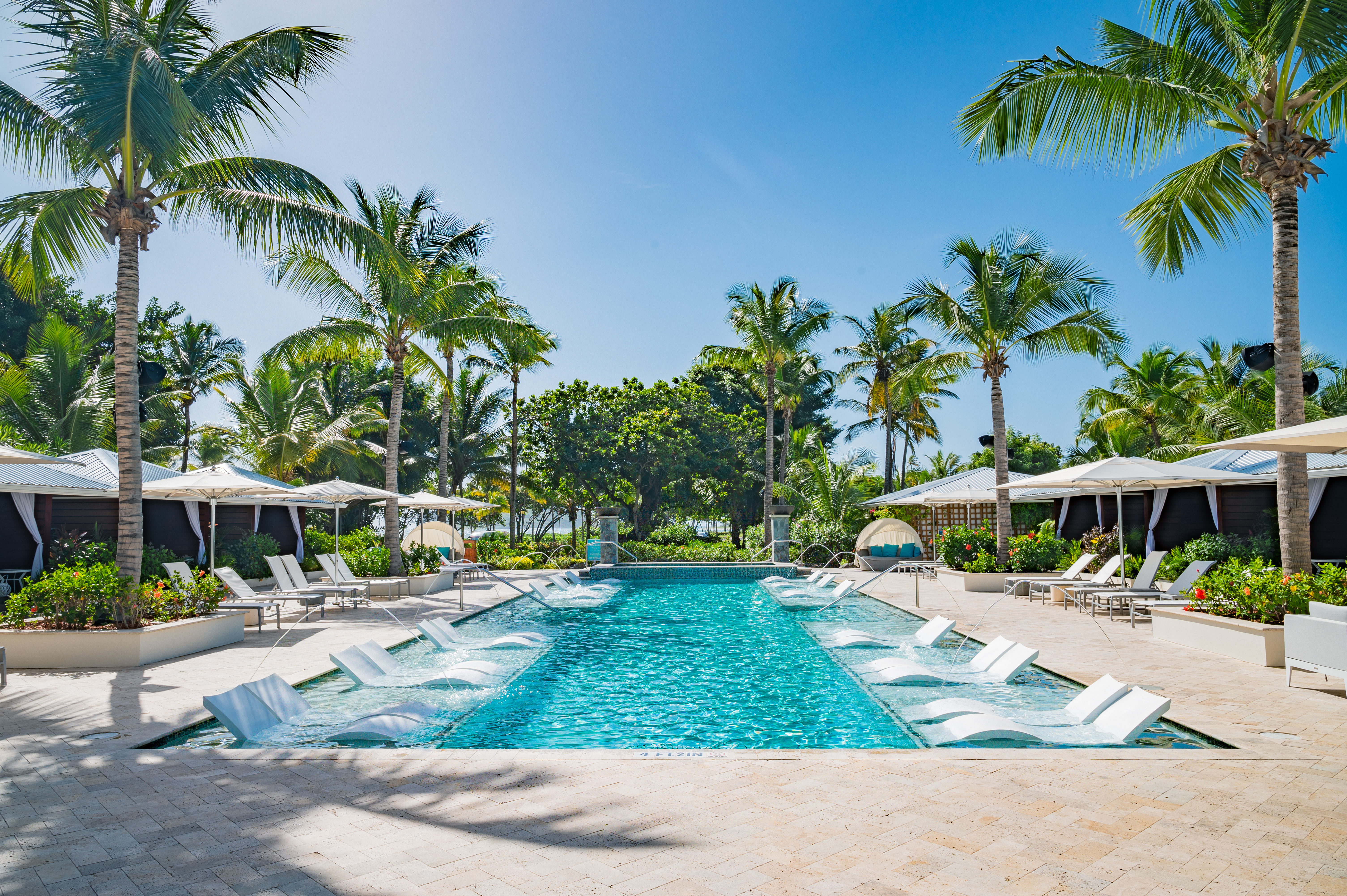The Greathouse pool is magnificently designed and sparkles at the center of the property. Lounging around the in-pool loungers or private poolside cabanas is heavenly.