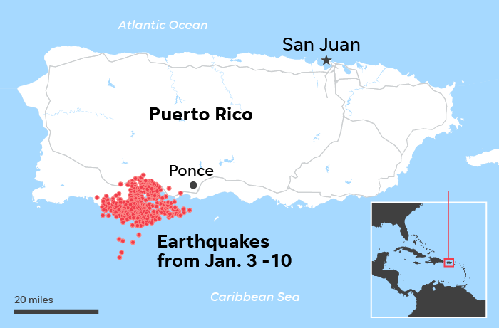 Map of Puerto Rico Earthquakes