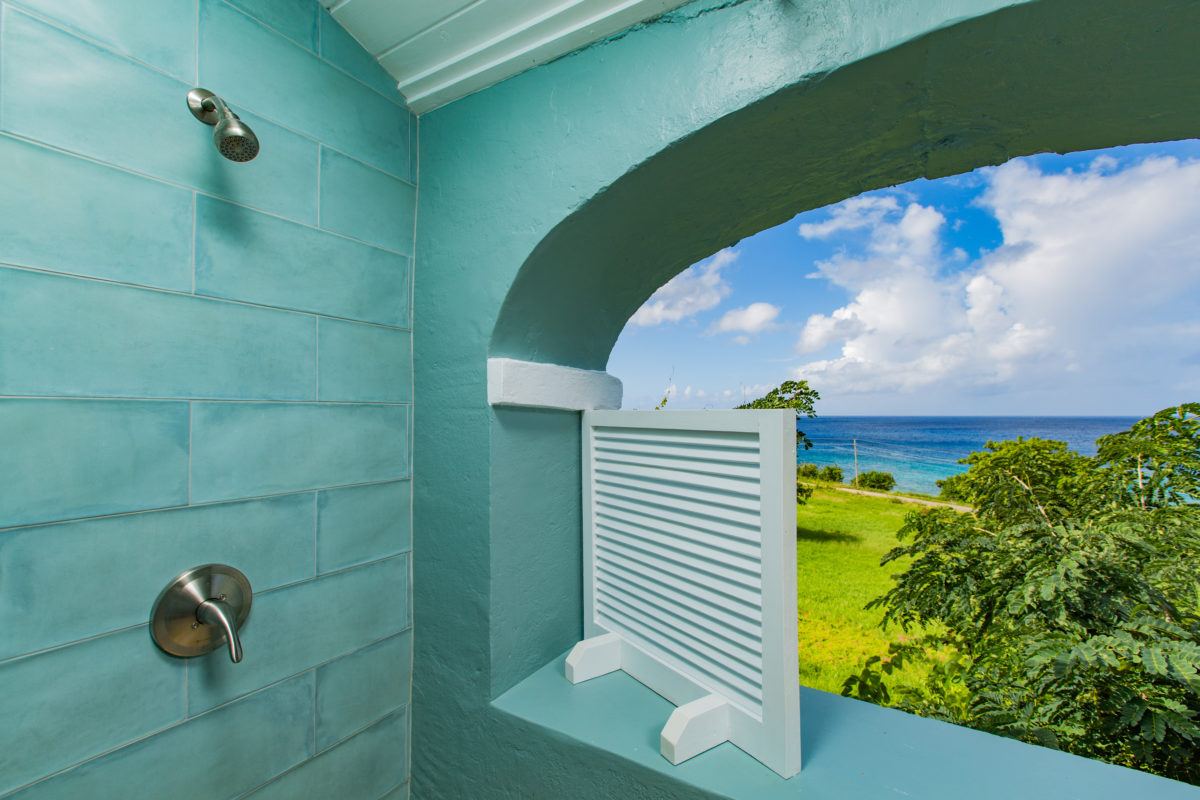 Shower with a view at Feather Leaf Inn, St. Croix