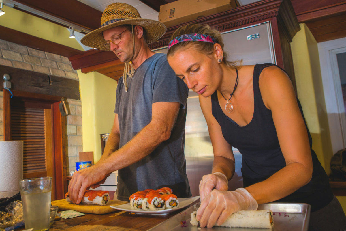 Ryan and Corina at work in the kitchen