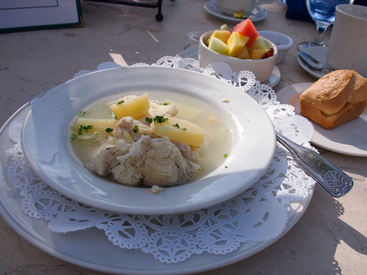 Caribbean food: Boiled fish breakfast in Abaco, The Bahamas