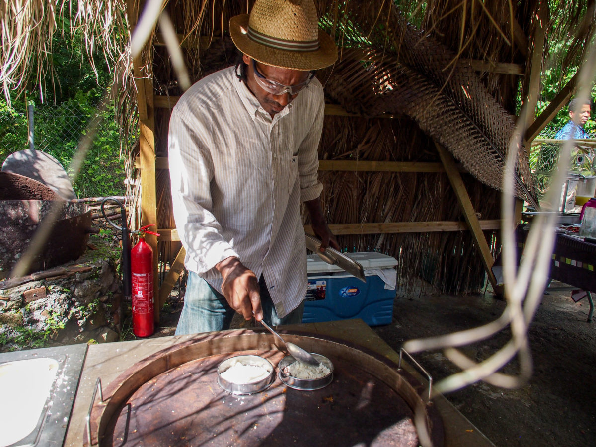 Cassava Bread cooking in Martinique