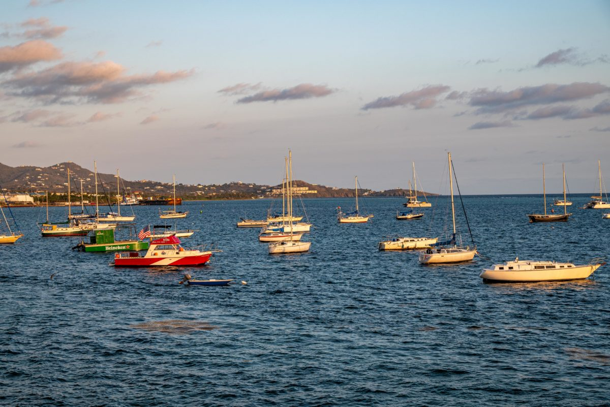 Sunrise Lighting up Boats in Christiansted Harbor