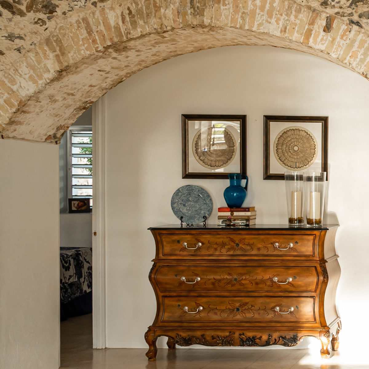 Vintage accents under the arches